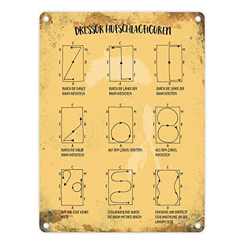 trendaffe - Metallschild mit Dressurreiten Hufschlagfiguren Motiv