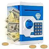 Ltteaoy Hucha Electrónica para niños Chico Chica, Hucha Digital con contraseña, Eléctrica Gran Máquina de Ahorro Automático Mini ATM para Billetes Monedas, Cumpleaños Regalos de 5-12 años (Azul)