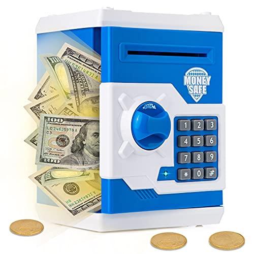 Ltteaoy - Hucha para niños de 3 a 12 años, electrónica, con contraseña, mini cajero automático, caja de ahorro de dinero para dinero en efectivo, monedas y regalos de cumpleaños para niños y n