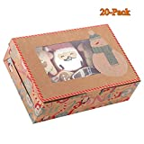 20-Pack Christmas Cookie Gift Boxes with Window, 8.7'' x 6'' x 2.8'', Brown Kraft Bakery Boxes,...