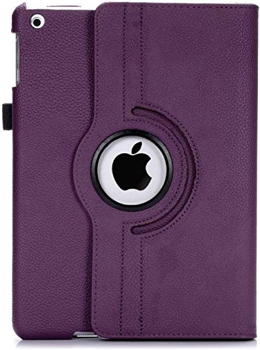 RC Case for Apple iPad (9.7 2018/2017, Air 2, Air 1 Model), 360 Degree Rotating Smart Leather Swivel Stand with Pencil Holder, Auto Wake/Sleep,Purple