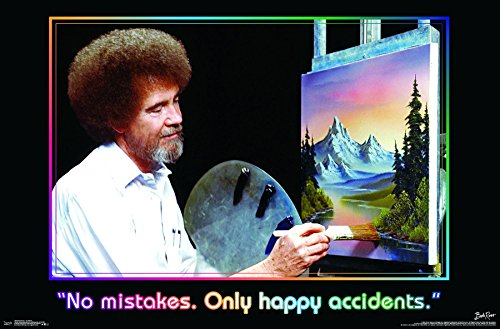Trends International Bob Ross - No Mistakes. Only Happy Accidents Wall Poster, 22.375' x 34', Unframed Version