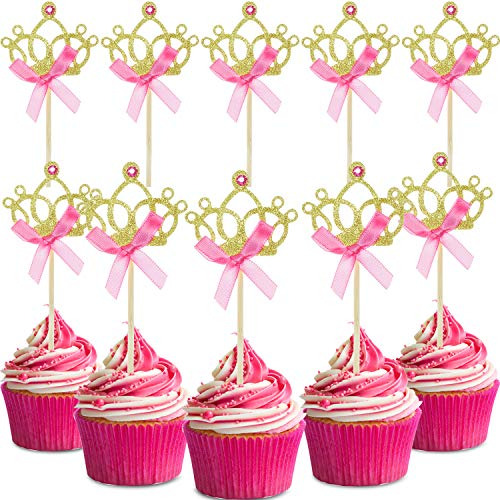 60 Pieces Gold Crown Cupcake Toppers Tiara Cupcake Toppers Crown Cake Picks with Pink Bows for Wedding Birthday Baby Shower Decorations