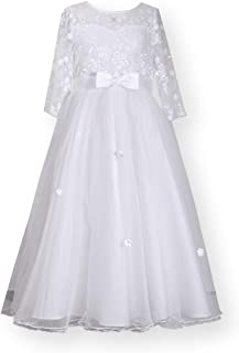 Bonnie Jean Girl's First Communion Dress with Bow and Daisy Embroidery