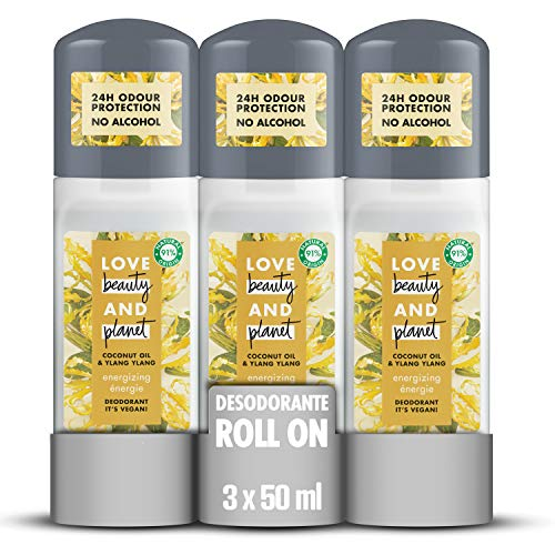 Love Beauty and Planet Desodorante Roll-on Love, Aceite de Coco e Ylang Ylang Vegano - Pack de 3 x 50 ml (Total: 150 ml)