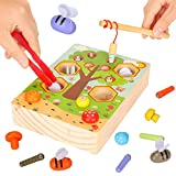 Sinwind Magnetische Holzspielzeug 3 in 1 Montessori Lernspielzeug, Holzspielzeug Lernspiele, Magnettafel Kinderspielzeug Geschenk ab Kinder Mädchen Jungs 3 Jahre