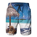Photo de Men's Sports Beach Shorts Board Shorts,Island Caribbean Honeymoon Themed Beach Seashore Ocean Print,Surfing Swimming Trunks Bathing Suits Swimwear par
