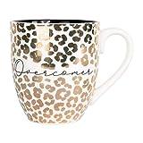 Overcomer Goldtone Leopard 20 ounce Ceramic Organic Coffee Mug