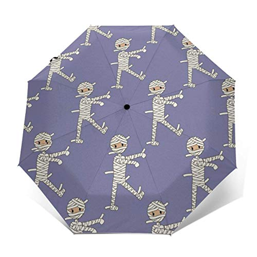 Paraguas plegable ligero porttil de viaje con revestimiento de pegamento negro anti UV  Patrn de disfraz de Halloween de momia paraguas de golf impermeables