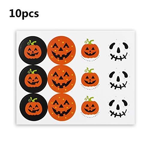 catyrre 10pcs 120 Sticker Halloween Pumpkin Sticker für Kinder, Round Label Sticker Halloween Candy Bag Sealing Sticker Labels for Storage Bins