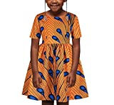 SLYRAIME Girls African Dashiki Traditional Style Short Sleeve Round Neck Dress M