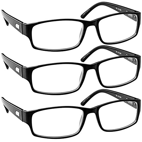 Reading Glasses 1.50 Black 3 Pack Always Have a Timeless Look, Crystal Clear Vision, Comfort Fit with Sure-Flex Spring Hinge Arms & Dura-Tight Screws