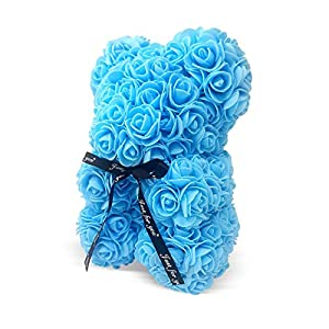 The Teddy Rose Flower Rose Bear – Cute 10-Inch Teddybear Handmade with Flower Petals – Artificial Roses Decor for Valentine's, Graduation, Mother's Day, Christmas, Anniversary Valentines Day Decor