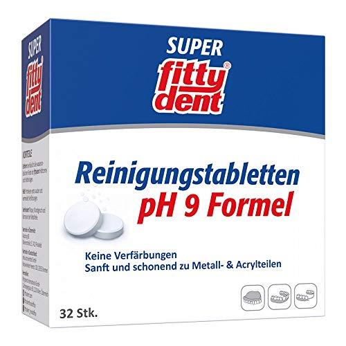 fittydent® Super Reinigungstabletten   32 Stück   Entfernt fast unsichtbare Rückstände kraftvoll & schonend   Optimal für Voll- und Teilprothesen & Zahnspangen   Frische und Sauberkeit im Mund