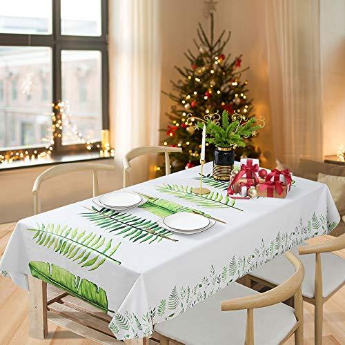 Essort Mantel Rectangular para Mesa PVC Hule Mantel Cuadrado para Comedor, Impermeable y Prueba de Aceite Hojas 137 x 185 cm