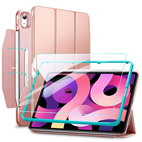 ESR Trifold Case Set Compatible with iPad Air 4 2020 10.9 inch [Includes Glass Screen Protector] [Auto Sleep/Wake] [Supports Pencil 2] Ascend Series, Rose Gold