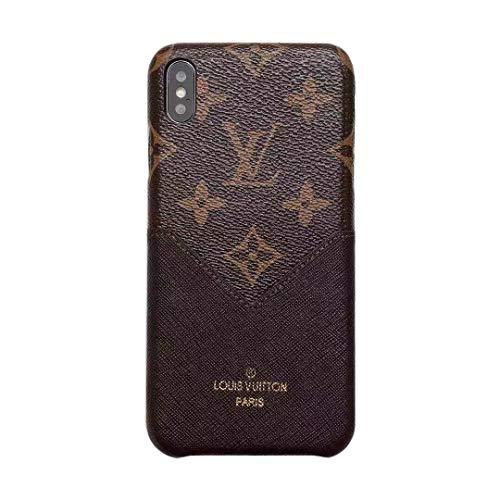 Phone case for iPhone X Fashion Elegant Luxury Designer Classic Monogram Vintage Style Card Holder Full Protection Case for iPhone X/iPhone Xs (Brown)