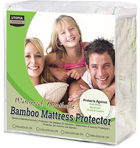 Utopia Bedding Protector de colchón Impermeable de bambú Funda de colchón y Ajustable (160 cm x 200 cm x 30 cm)