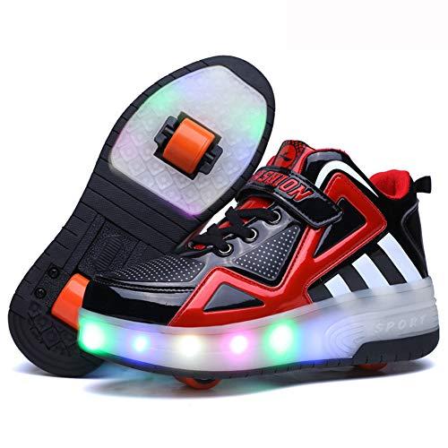 Nicekko skateboardschoenen kinderen schoenen met 2 rollen rolschaatsen jongens meisjes sportschoenen gymschoenen loopschoenen sneakers