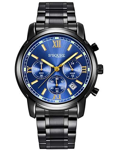 Alienwork Herren Damen Armbanduhr Quarz schwarz mit Edelstahl Metallarmband Kalender Datum blau