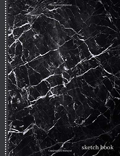 Sketch Book: 8.5x11 Artist Notebook for Kids, Teens and Adults with Blank Paper for Drawing, Writing, Doodling, and Coloring,108 Pages, Classic Dark Gray Marble Cover Design