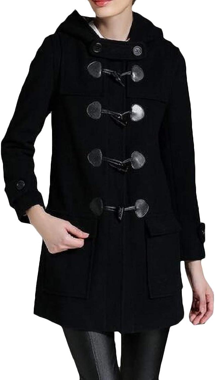 EtecredpowCA Women's Big Pockets Outwear Woolen Toggle Hooded Casual Pea Coat