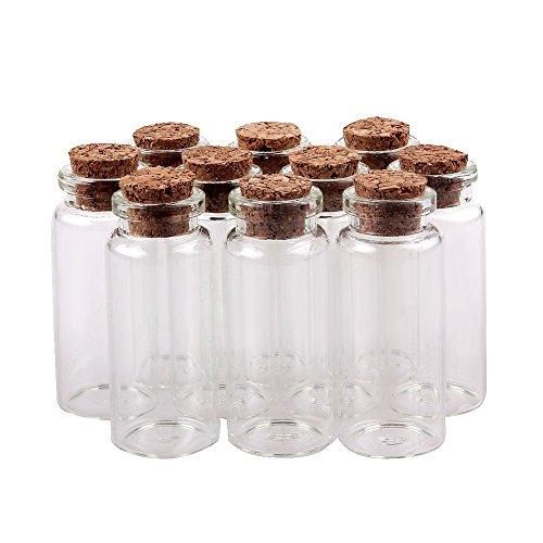 TININNA 30 pcs pequeño Mini tarros de Cristal Botellas frascos con Tapones de Corcho/Mensaje/Deseo de Fiesta de Bodas