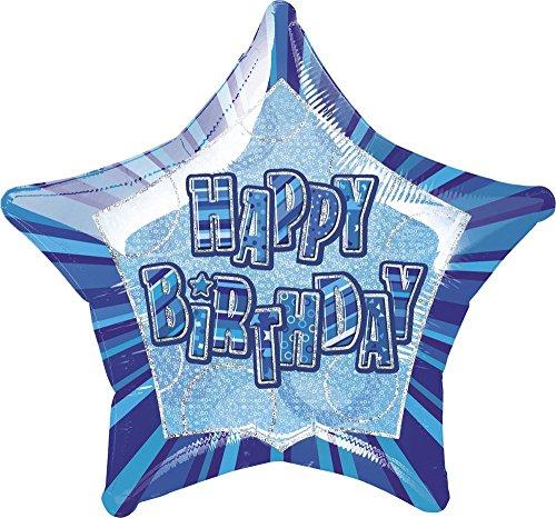 Unique Party - 55121 - Ballon Anniversaire - Happy Birthday - 50 cm - Bleu Glitz