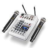 D Debra Audio MM-02 ホームスタジオ用レコーディングDJネットワークライブカラオケ用2チャンネルUHFワイヤレスマイク付きDJコンソールミキサーサウンドカード