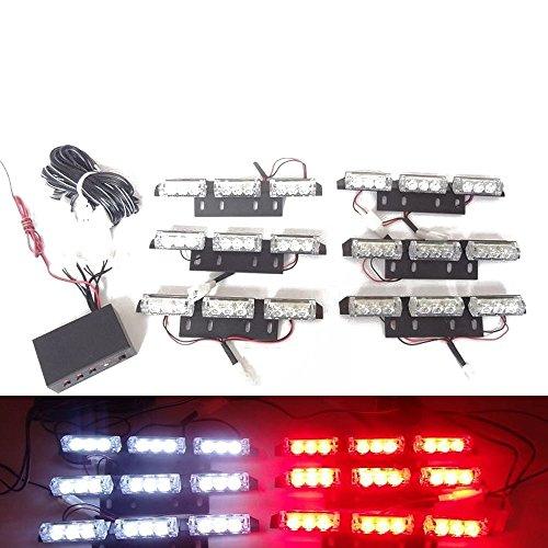 Viktion DC12V 5W 6 * 9 LEDs Feux de Pénétration Lumière Stroboscopique Eclairage Clignotant à 3 Modes pour Voiture Camion véhicule SUV (Rouge & Blanc)