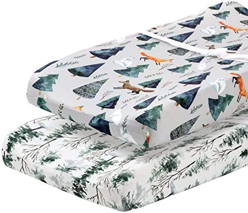 Pobi Baby 2 Pack Premium Quality Changing Pad Cover Ultra Soft Cotton Blend Stylish Animal Woodland product image