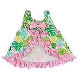AnnLoren Baby/Toddler Girls Open Back Swing Tank Top with Bow Tropical Flamingo Design 12-24 mo
