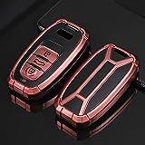 ontto Funda para llave de coche compatible con Audi R8 Q5 Q7 S3 S4 S5 S6 S7 S8 SQ5 RS5 RS7 A4 A5 A6 A7 A8 2010 – 2016, carcasa de TPU para llave de coche, color rosa
