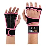 MEGAFIVE - Gants de Musculation et de Fitness, Gymnastique,Barre de Traction d'une Couleur Rose idéal pour Les Femmes (M)
