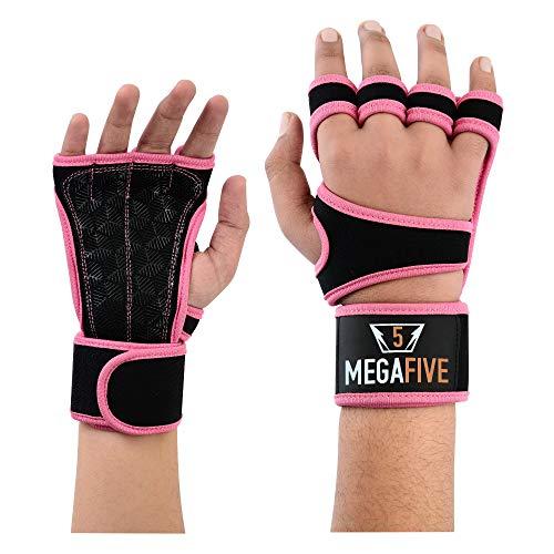 MEGAFIVE – Guantes de musculación y Fitness, Gimnasia, Barra de tracción de Color Rosa, Ideal para Mujeres… (S)