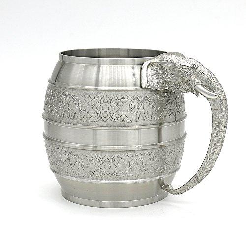 Oosterse tinnen - Tinnen bier mok (klein formaat) Pure Tin 97% loodvrije tinnen MBME hand gesneden mooi reliëf met olifanten & handgemaakt van Olifanten hoofd handgemaakt in Thailand