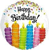 Suki Gifts S9114607 - Candele di compleanno'Happy Birthday', motivo: palloncino di elio, multicolore