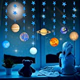 Solar System Decorations Planet Garland Kits with Blue Shimmer Star for Outer Space Party, Boy's Party