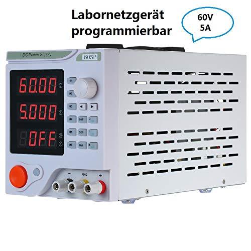 KKmoon Labornetzgerät 0-60V 0-5A 4-stelliges LED-Display Programmierbares DC Netzteil Hochpräzises, einstellbares Schaltnetzteil Überlast- & Kurzschlussfest