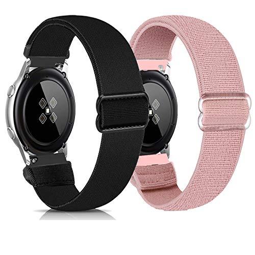 Zoholl Correas deportivas compatibles con Samsung Galaxy Watch 46 mm/Gear S3/Huawei GT 2 Correa de reloj suave de liberación rápida de repuesto transpirable (22 mm negro + rosa)