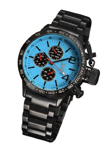 Konigswerk Mens Black Bracelet Watch Blue Dial Big Face Day Date Large Face AQ201740G