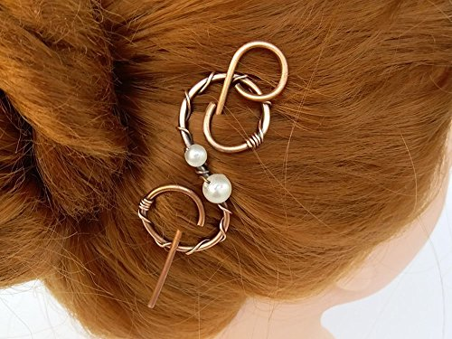 Celtic Copper Hair Barrette Clip with Stick, Hair Jewelry, Shawl Pin Scarf Slide Sweater Brooch,Gift for women