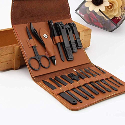 AIWOGEP 16 Pieces Manicure Set with PU Leather Case, Personal Care Tool Kits, Stainless Steel Pedicure Set,Nail Clippers Scissors Gifts for Men/Women, Anniversary, Christmas, Birthday
