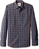 Amazon Brand - Goodthreads Men's Slim-Fit Long-Sleeve Plaid Poplin Shirt, Navy Burgundy, Large