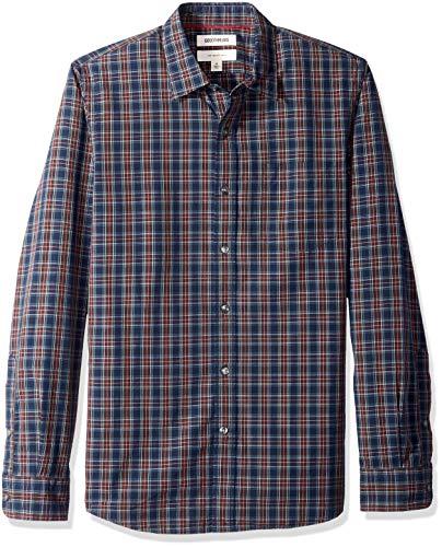 Marca Amazon – Goodthreads – Camisa de manga larga de popelín a cuadros de corte entallado para hombre, Azul (navy burgundy plaid), US S (EU S)
