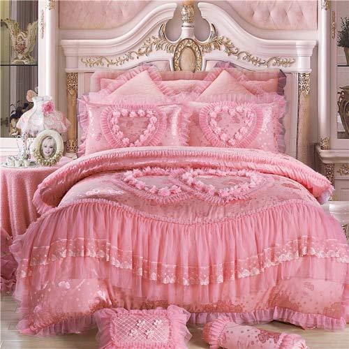 LEV Bedding Sets - silk cotton jacquard soul mates wedding bedding set lace duvet cover bedspread pillowcases queen king size 3/4/6/9pcs 1 PCs