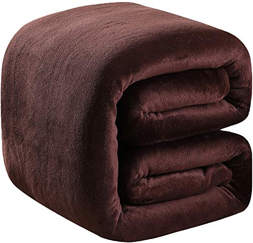 Polar Fleece Blankets Twin Size Brown for The Bed Extra Soft Brush Fabric Super Warm Sofa Blanket 66' x 90'(Chocolate Twin)