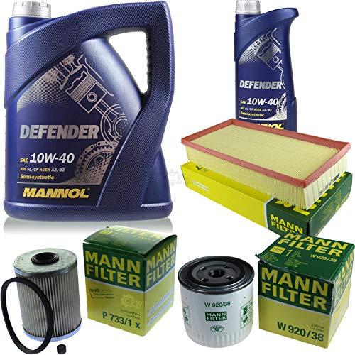 Filter Set Inspektionspaket 6 Liter MANNOL Motoröl Defender 10W-40 API SL/CF MANN-FILTER Luftfilter Kraftstofffilter Ölfilter