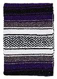 El Paso Designs Mexican Yoga Blanket | Colorful Falsa Serape | Park Blanket, Yoga Towel, Picnic, Beach Blanket, Patio Blanket, Soft Woven Saddle Blanket, Boho Home Décor (Purple)