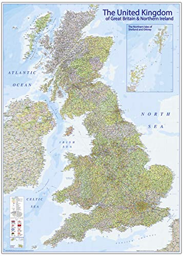 Close Up XXL Premium Karte des Vereinigten Königreichs Poster im Riesenformat mit Flaggen - Version 2020-140 x 100 cm